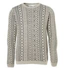 Ex Topman Grey White Knitted Printed Sweater Sweatshirt Jumper Top Size S