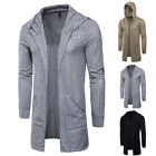 Spring Men's Coat Casual Hooded Knitted Cardigan Slim fit Long Sleeve Jacket