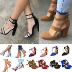 red pumps ankle strap - Women High Heel Strap Ankle Block Sandals Chunky Party Dress Sandal Pumps Shoes