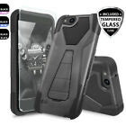 For ZTE ZFive G LTE Armor Hard Phone Case Cover Kisksand+Tempered Glass Screen