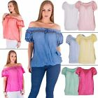 Women Top Ladies Tunic Gypsy Mesh Floral Applique Italian Lagenlook Off Shoulder