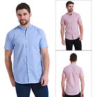 Threadbare Mens Wellerby Short Sleeve Shirt Luxury Grandad Collared Buttoned Top