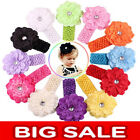 NEW Baby Girl Kid Crochet Headband Hair Band with Daisy Flower 14Colors US STOCK