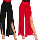 Womens Slinky Cross Wrap Over Wide Flared Leg Ladies Slit Open Palazzo Trousers