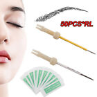 50PCS Disposable Sterilized Tattoo Eyebrow Needles Microblading Peel-off 1/3/5RL