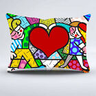 Big Heart Romero Britto Zippered Printed Pillow Case All SIze 16 18 20 inch