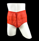 Erotic Underwear Nylon Briefs Panties Split Zipper Zip Panty Lace Knicker RED