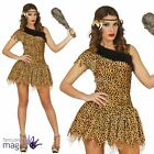 Ladies Cavewoman Prehistoric Sexy Cave Girl Leopard Fancy Dress Costume Outfit