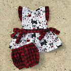 US Adorable Toddler Baby Girls Puppy Dog Plaid Tops Shorts Outfits Set Clothes