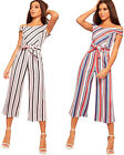 Womens Bardot Off Shoulder Striped Jumpsuit Ladies Trousers Pants Belted Pocket