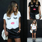 Fashion Women  Summer Eyes Lips Printed Casual T-shirt Blouse Top Plus Size GIFT