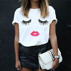 Charm Women Ladies Fashion Top Blouse Cotton Eyelash Lips Print T Shirt S-5XL US