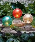 Solar Powered Garden Gazing Glass Balls On Columns Choose Red White Or Turquoise