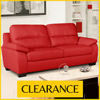 ARTENA 3 + 2 Seater Vibrant Red Bonded Leather Sofas Pocket Sprung CLEARANCE