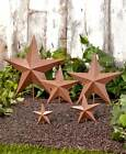 Farm Country Style Decor Set of 5 Star Garden Stakes Choose Galvanized Or Rustic