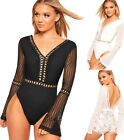 Womens Long Bell Sleeve Plunge Lace Mesh Party Bodysuit Ladies Leotard Top 8-14