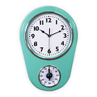 Retro Old Fashioned 8.5 Inch Kitchen Wall Clock With 60 Minutes Timer Mint Green