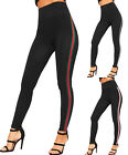 Womens Contrast Side Striped High Waisted Stretch Leggings New Ladies Jeggings