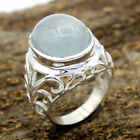925 Sterling Silver Jewelry Natural Aqua Chalcedony Gemstone  Ring 7.38 Grams