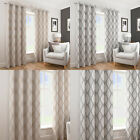 Deco Geometric Textured Wave Lined Ready Made Eyelet Top Ring Top Curtains Pair