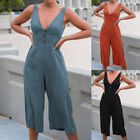 Womens Summer V-Neck Playsuit Sleeveless Backless Lady Casualsuit Pant GIFT