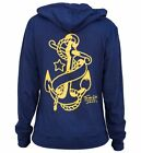 Yellow Anchor Navy Blue Zip Hoodie Black Market Tattoo Art Tennessee Dave James