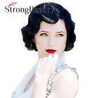 StrongBeauty Finger Wavy Style Short Skin Top Synthetic Hair Wig 1920s Wig