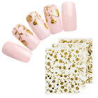 3D Nail Stickers Gold Flowers Adhesive Transfer Decals Rhombus Nail Art Decors