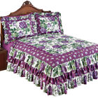 Roseland Ruffled Bedspread with Purple Roses and Fresh Green Floral Pattern image