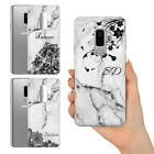 PERSONALISED ROYAL GREY FLOWER LACE MARBLE NAME SILICONE PHONE CASE FOR SAMSUNG