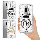 PERSONALISED WHITE MARBLE QUEEN KING INITIALS ON GEL PHONE CASE FOR SAMSUNG S