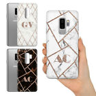 PERSONALISED GEOMETRIC DARK ROSE GOLD GREY MARBLE GEL PHONE CASE FOR SAMSUNG S