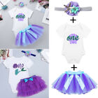 Girls 1st First Birthday Mermaid Outfit Baby Party Romper Tu