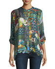Johnny Was Canvas Printed Silk Twill Tunic Button Down Blouse New C14617B9 MTB