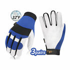 Vgo 3Pairs Pigskin Leather Warm Freezer Waterpoof Safety Working Gloves(PA7620F)