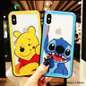 Stitch Pooh Bear Cartoon Tempered Glass Phone Case Cover For iPhone X 6 7 8 Plus