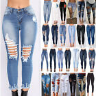 Womens Stretch Skinny Ripped Denim Jeans Jeggings High Waist