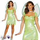 Adults Ladies Neverland Green Magic Fairy Tinkerbell Fancy Dress Costume & Wings
