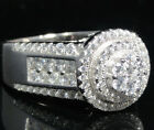 Ladies White Gold Finish On Sterling Silver Engagement Wedding Ring Band Sz 7~10