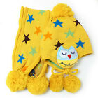 [EL] Baby Warm Knit Soft Acrylic Hat Children's Hat Blue / Yellow With Scarf