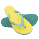 Waves Sun Yellow and Aqua Twofold Real Rubber Flip Flops for Women - Gym Shower
