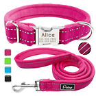 Reflective Personalized Nylon Dog Collar and Leash Fleece Li