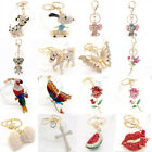 HOT Key Chains Animal Keyring Purse Bag Crystal Charm Pendant Necklace Gift
