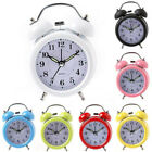 Retro Mini Quartz Alarm Clock Twin Bell Round Number Desk Bed LED Clock Fashion