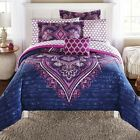 Grace Medallion Purple Bed in a Bag ALL SIZES Complete Bedding Set Silky Feel