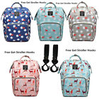 LEQUEEN Mummy Baby Diaper Bag Backpack Shoulder Bag with Stroller Hooks