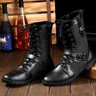 Mens Lace Up Martin Boots Leather High Top Shoes Military Motorcycle Black New
