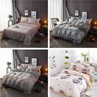 Set of 4 100% Cotton Duvet Cover Pillowcases Flat Sheet Bedding Sets Queen Size image