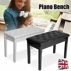 Classic Leather Piano Wood Bench Storage Wooden Keyboard Stool Padded Seat