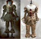 Stephen King's It Pennywise Cosplay Costume Scary Joker Suit Halloween Clown US
